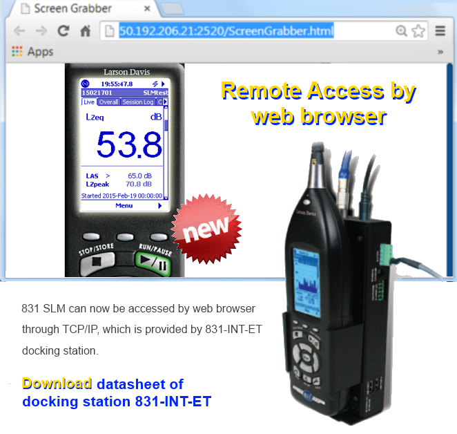 Direct web access by 831-INT-ET Sound Level Meter